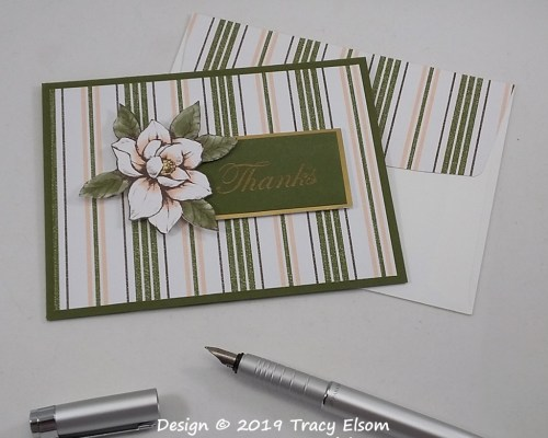 1812 Striped Magnolia Thanks Card