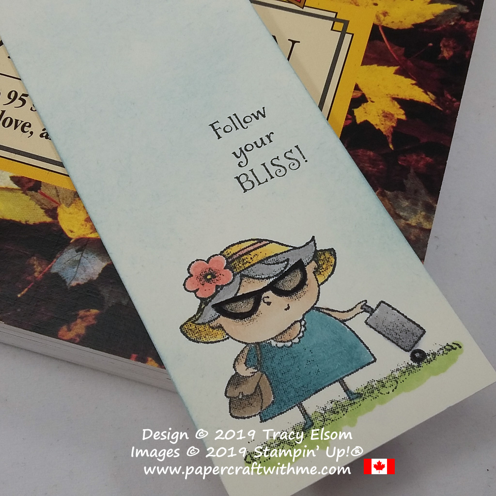 Close up of bookmark featuring a lady traveller complete with sunglasses and suitcase created using the On To Adventure Stamp Set and Stampin' Blends from Stampin' Up!