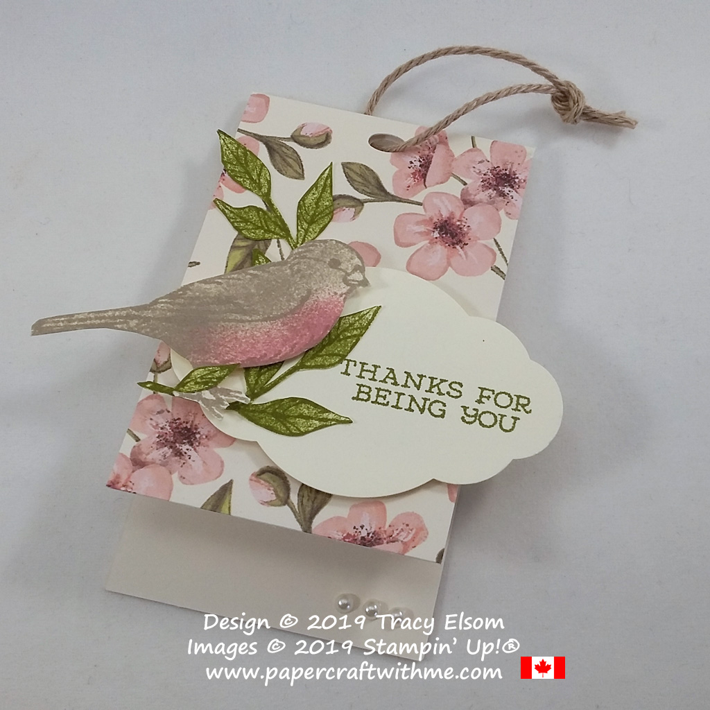 Thank you gift tag created using the Free As A Bird Stamp Set and a notecard base from the May 2019 Paper Pumpkin kit Hugs from Shelli.