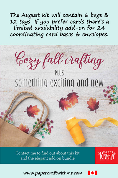 The August Paper Pumpkin kit will contain everything you need to make 6 bags & 12 tags  If you prefer cards, there's a limited availability add-on for 24 coordinating card bases & envelopes. Subscribe by August 10th 2019.