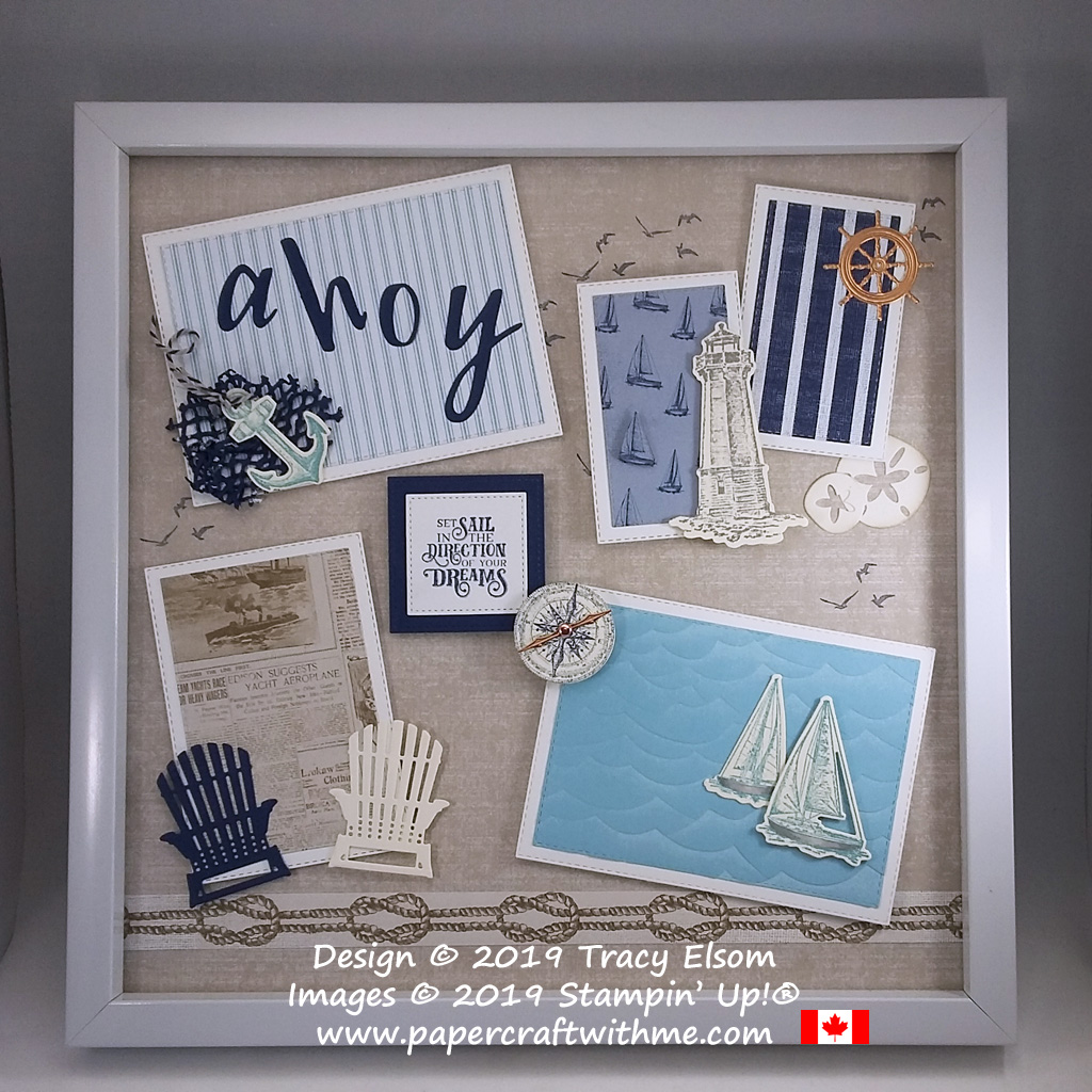 "Ahoy 12"" x 12"" frame with seaside images created using the Sailing Home Stamp Set and coordinating Smooth Sailing Dies plus Designer Series Paper and other Dies, all from Stampin' Up!"
