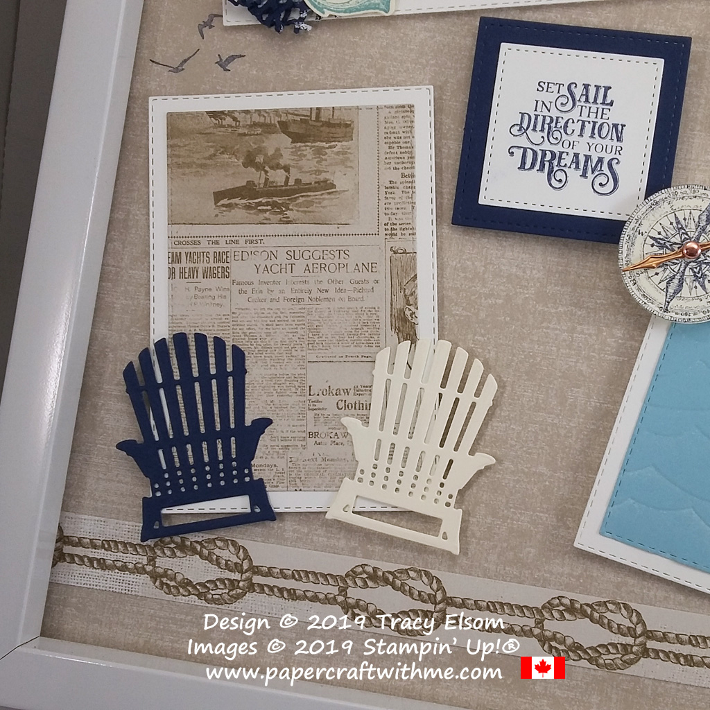 "Bottom left corner of 12"" x 12"" frame with sailing images from the Sailing Home Stamp Set and coordinating Smooth Sailing Dies, and chairs cut using the Seasonal Layers Dies, all from Stampin' Up!"