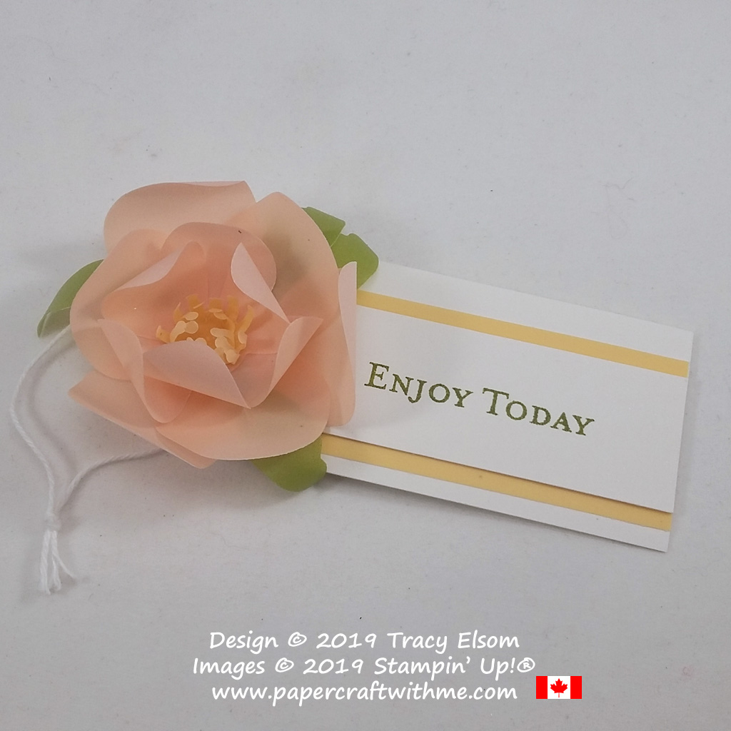 """Enjoy today"" gift tag with coloured vellum flower created using the Good Morning Magnolia Stamp Set and coordinating Magnolia Memory Dies from Stampin' Up!"