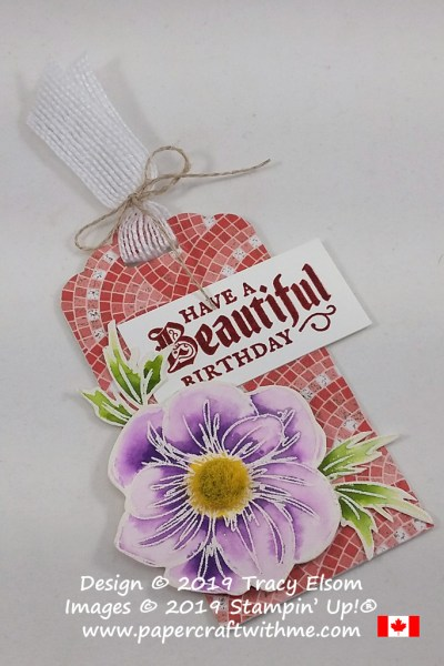 Birthday gift tag created using the Floral Essence and Painted Glass Stamp Sets on a background of Mosaic Mood Specialty DSP, all from Stampin' Up!