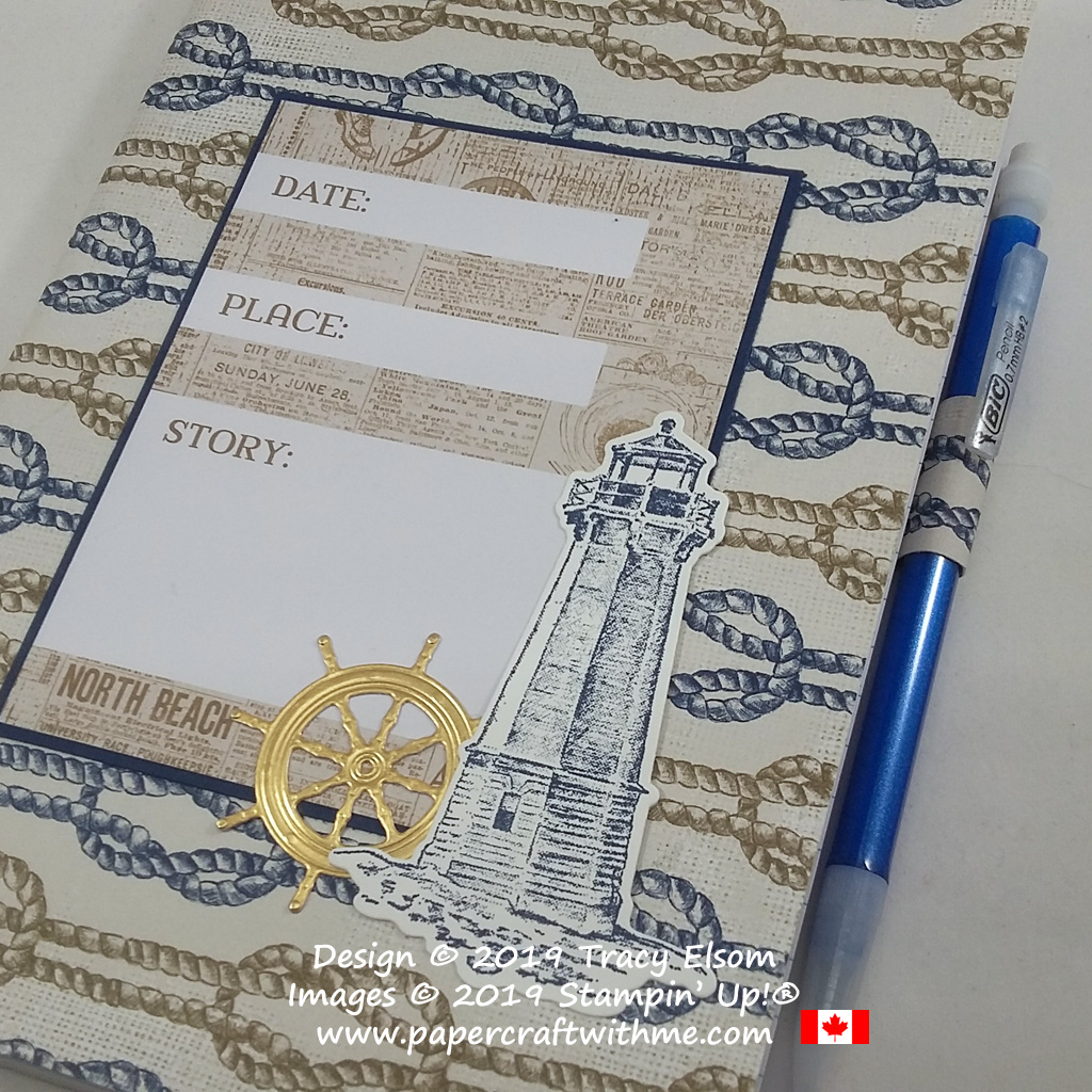 Close up of decorated Date Place Story notebook cover created using products from the Come Sail Away Suite from Stampin' Up!
