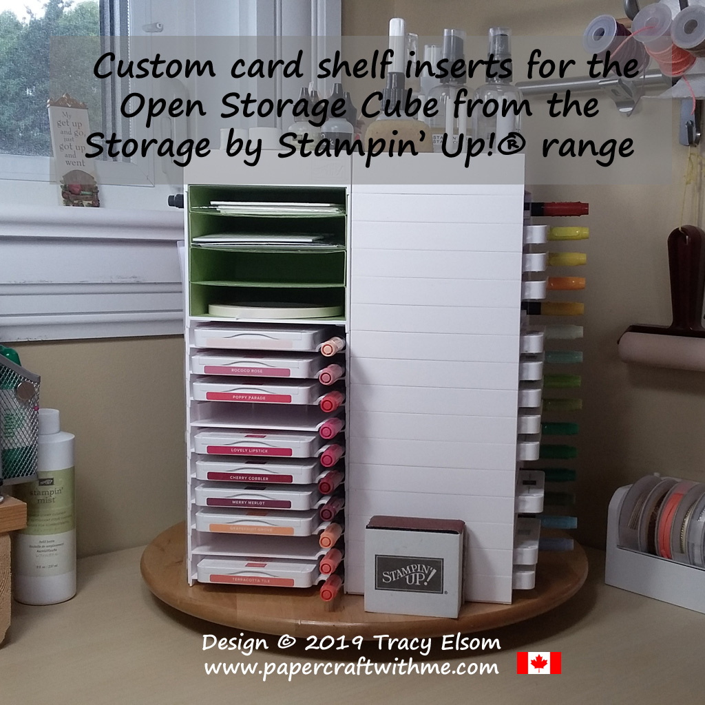 Custom card shelf inserts for the Open Storage Cube from the Storage by Stampin' Up! range.