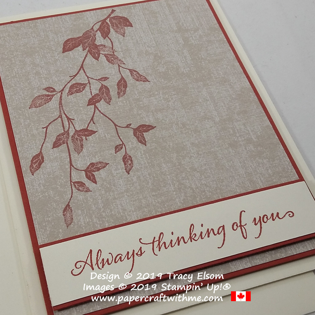 "Close up of a simple ""Always thinking of you"" card created using the Very Versailles Stamp Set from Stampin' Up! #simplestamping"