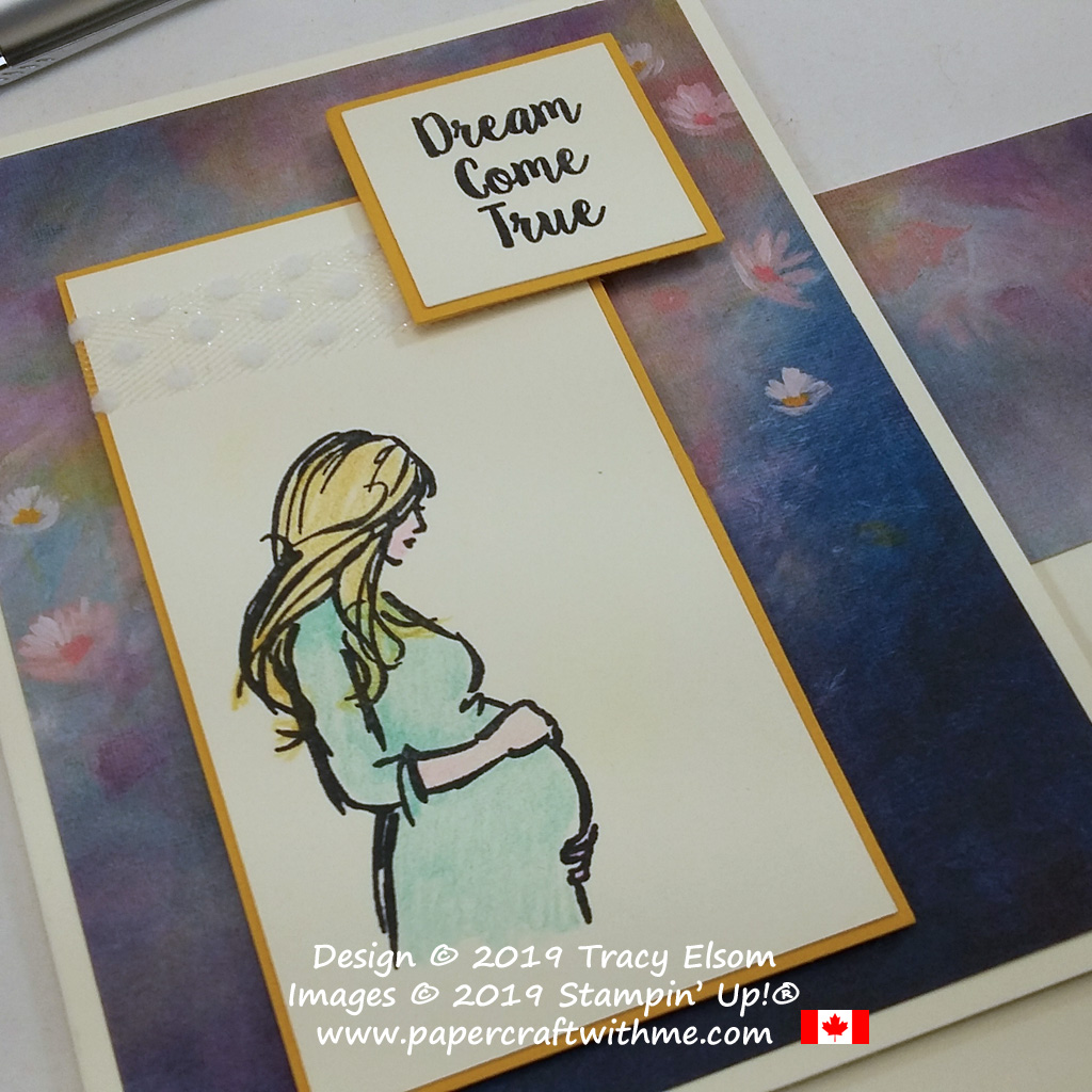 "Close up of card with ""Dream come true"" sentiment and pregnant lady image created using the Wonderful Moments Stamp Set from Stampin' Up!"