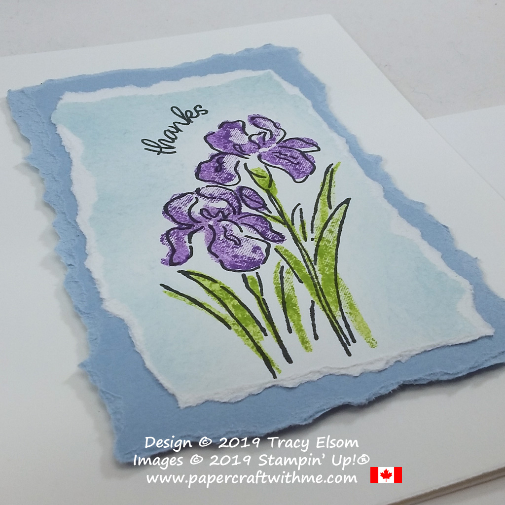 Close up of simple thank you card created using the Inspiring Iris Stamp Set from Stampin' Up! #simplestamping #papercraftwithme