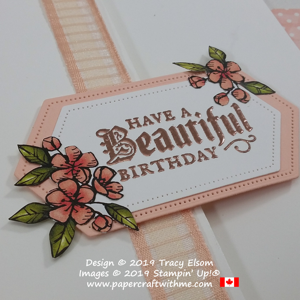 """Close up of card with copper embossed """"Have a beautiful birthday"""" sentiment from the Painted Glass Stamp Set from Stampin' Up! #papercraftwithme"""