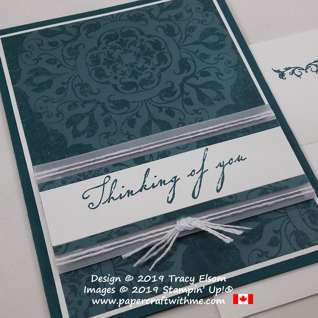 Close up of thinking of you card created using the Woven Heirlooms Stamp Set and Woven Threads patterned paper from Stampin' Up! #papercraftwithme