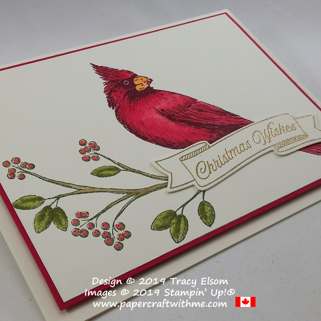 """Close up of card with """"Christmas wishes"""" sentiment and cardinal image created using the Toile Christmas Stamp Set and Stampin' Blends alcohol markers from Stampin' Up! #papercraftwithme"""