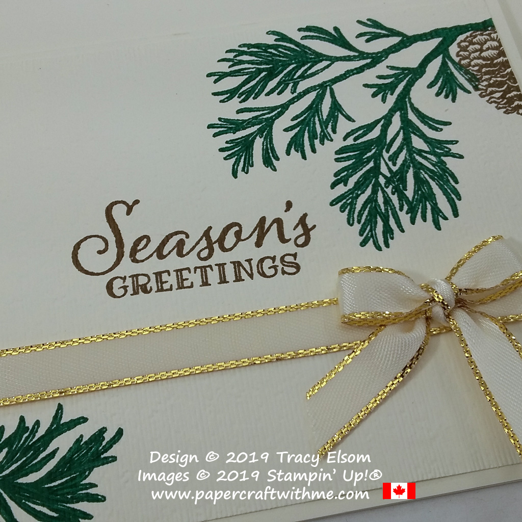 Detail on Seasons Greetings card created using the Peaceful Boughs Stamp Set from Stampin' Up! #papercraftwithme