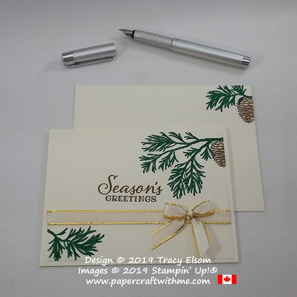 Seasons Greetings card created using the Peaceful Boughs Stamp Set from Stampin' Up! #papercraftwithme