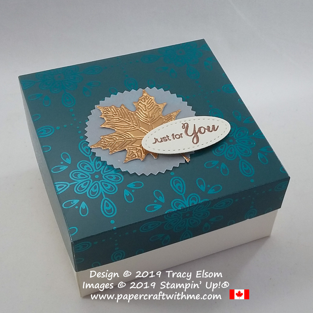 "Simple two part box with copper maple leaf embellishment and embossed ""Just for you"" sentiment created using products from Stampin' Up! #papercraftwithme"