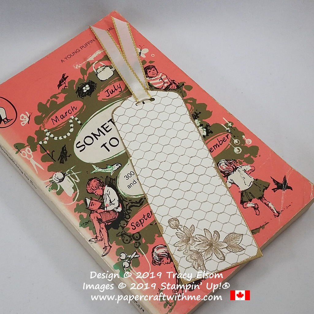 Sepia flower bookmark with gold heat embossed edge created using the Fanciful Fragrance and All Wired Up Stamp Sets from Stampin' Up! #papercraftwithme