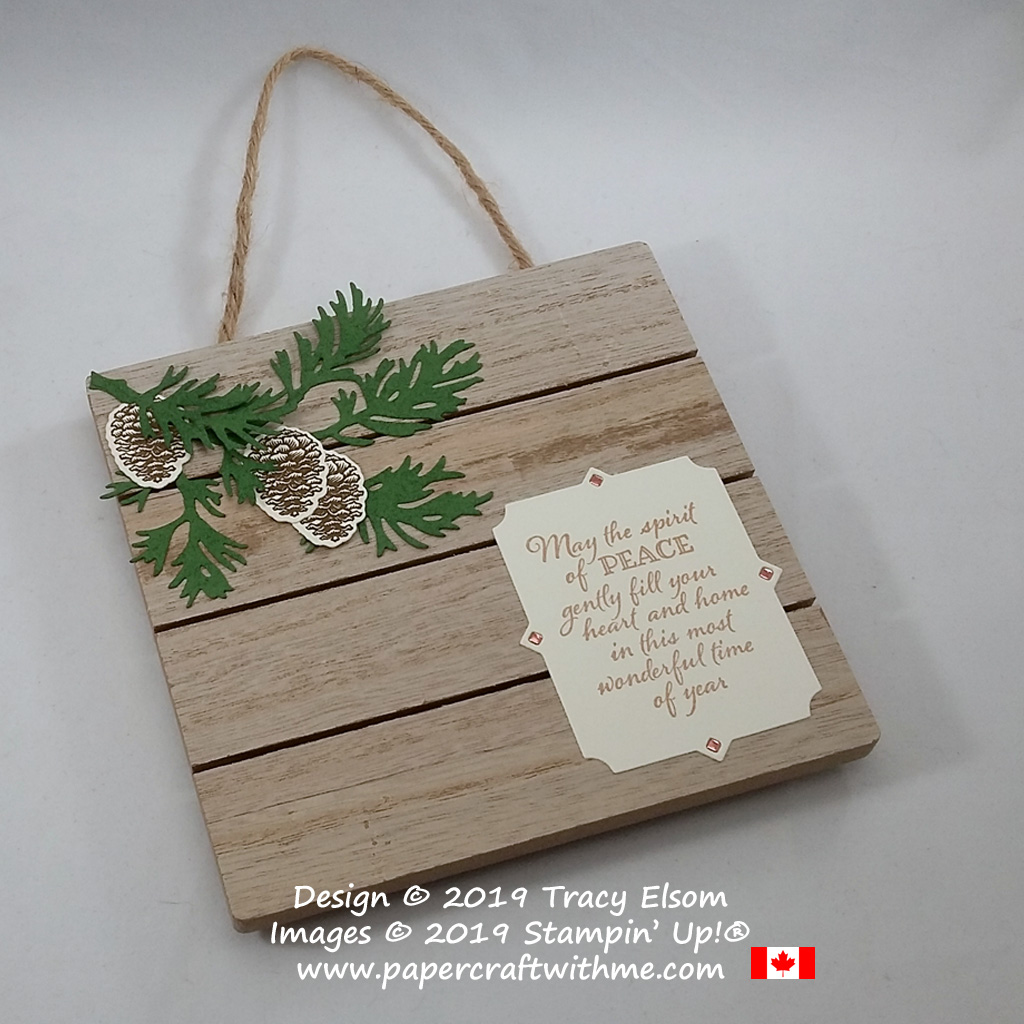 "Spirit of peace plaque (5-1/2"" x 5-3/4"") created using the Peaceful Boughs Stamp Set and coordinating Beautiful Boughs Dies from Stampin' Up! #papercraftwithme"
