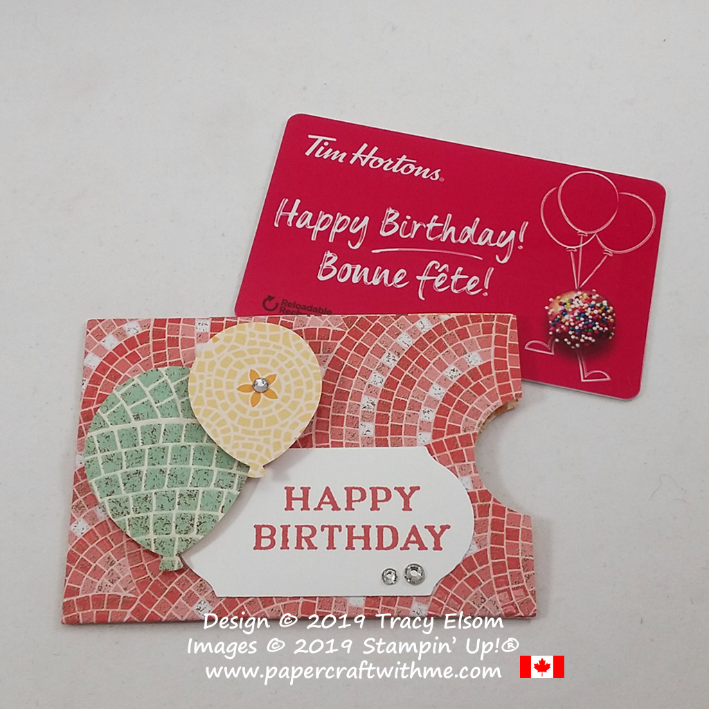Happy birthday gift card holder created using Mosaic Mood patterned paper and Balloon Bouquet Punch from Stampin' Up! #papercraftwithme
