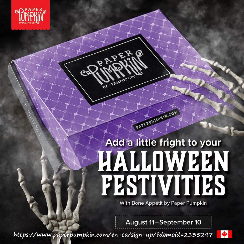 Get everything you need to make 20 Halloween-themed food-safe gift boxes with the September 2019 Paper Pumpkin kit. In Canada? Subscribe before September 10th using the link in the photo. #Papercraftwithme