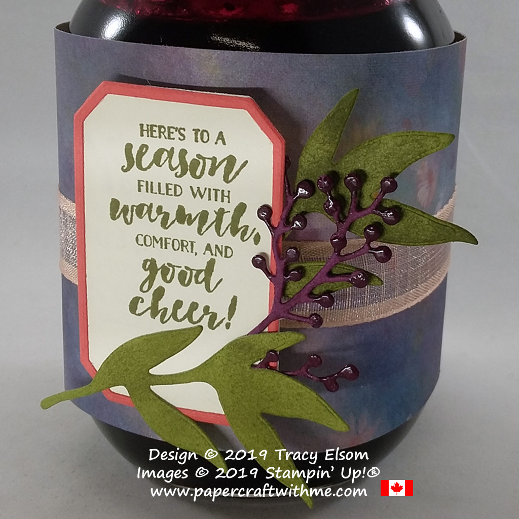 Homemade blackcurrant jam in a jar decorated using the First Frost Stamp Set and Frosted Bouquet Dies from Stampin' Up!