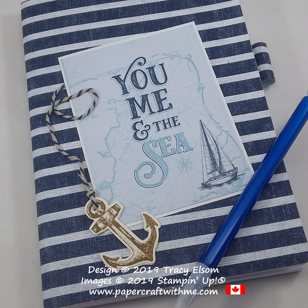 """Close up of 5"""" x 7"""" notebook with a """"You Me & the Sea"""" sentiment and other products from the Come Sail Away Suite by Stampin' Up! #papercraftwithme"""