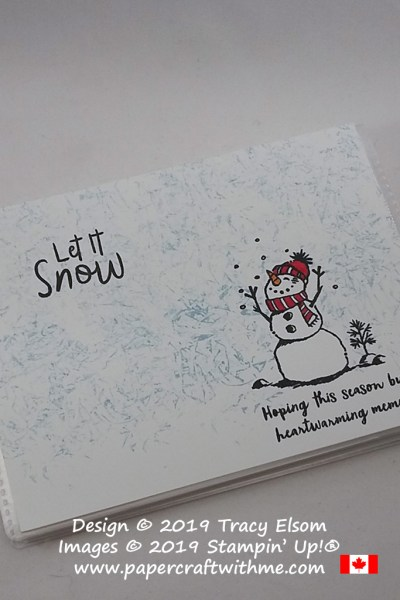 """Let it Snow"" 4"" x 6"" pocket photo album decorated using a Saran Wrap technique and the Snowman Season Stamp Set from Stampin' Up! #papercraftwithme"