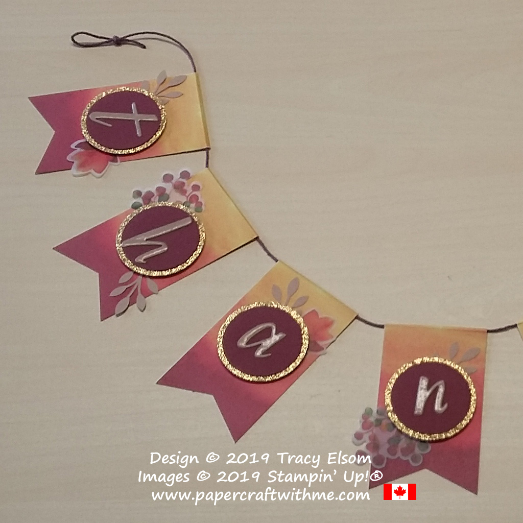 "Close up of Thankful banner created using the August Paper Pumpkin kit ""Gift of Fall"" and Add On Card kit from Stampin' Up! #papercraftwitme"
