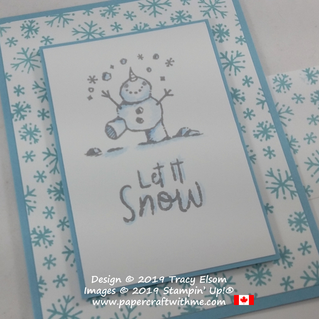 "Close up of #simplestamping ""Let it snow"" card created using the Snowman Season Stamp Set from Stampin' Up! #papercraftwithme"