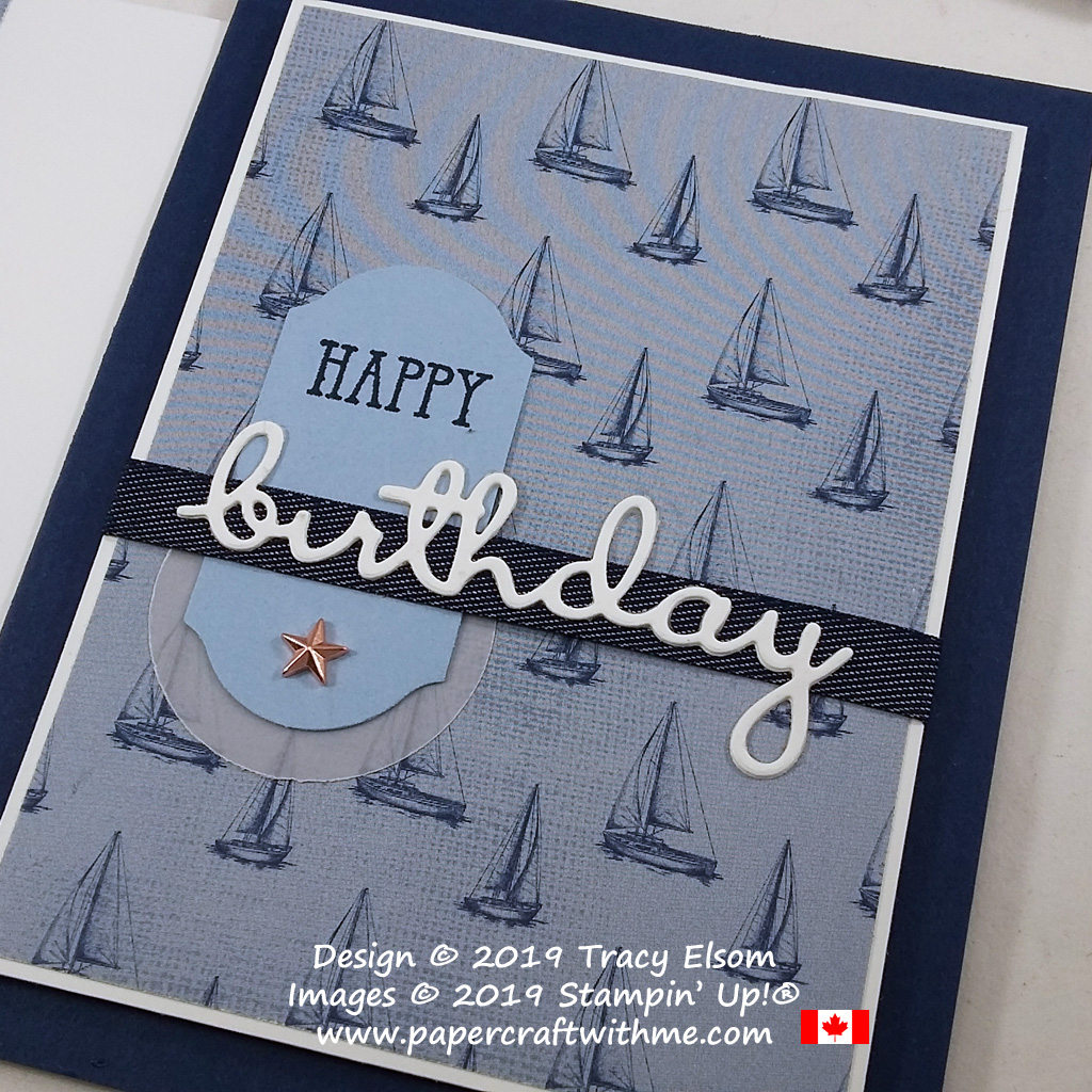 Close up of masculine birthday card with metal star embellishment. created using the Well Said Stamp Set and coordinating Well Written Dies from Stampin' Up! #papercraftwithme