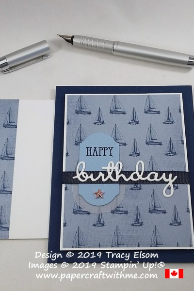 Masculine sailing birthday card with metal star embellishment. created using the Well Said Stamp Set and coordinating Well Written Dies from Stampin' Up! #papercraftwithme