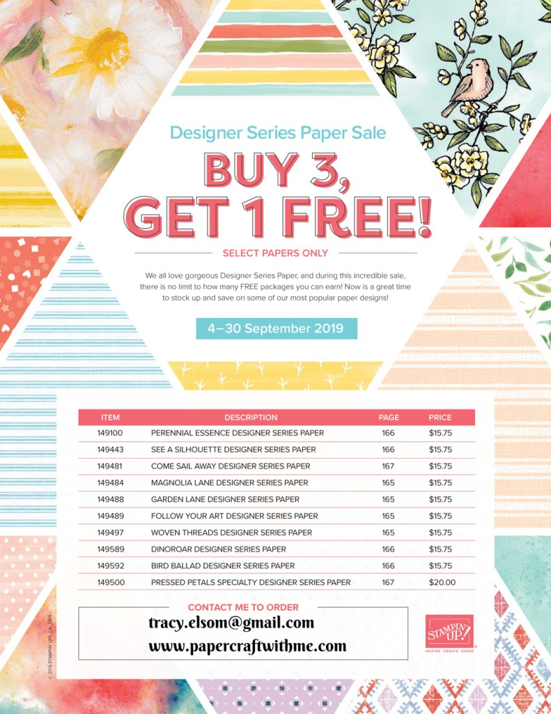 """Buy any 3 packs from a selection of Stampin' Up! 12"""" x 12"""" patterned paper packs and get 1 free (September 4 to 30, 2019)"""