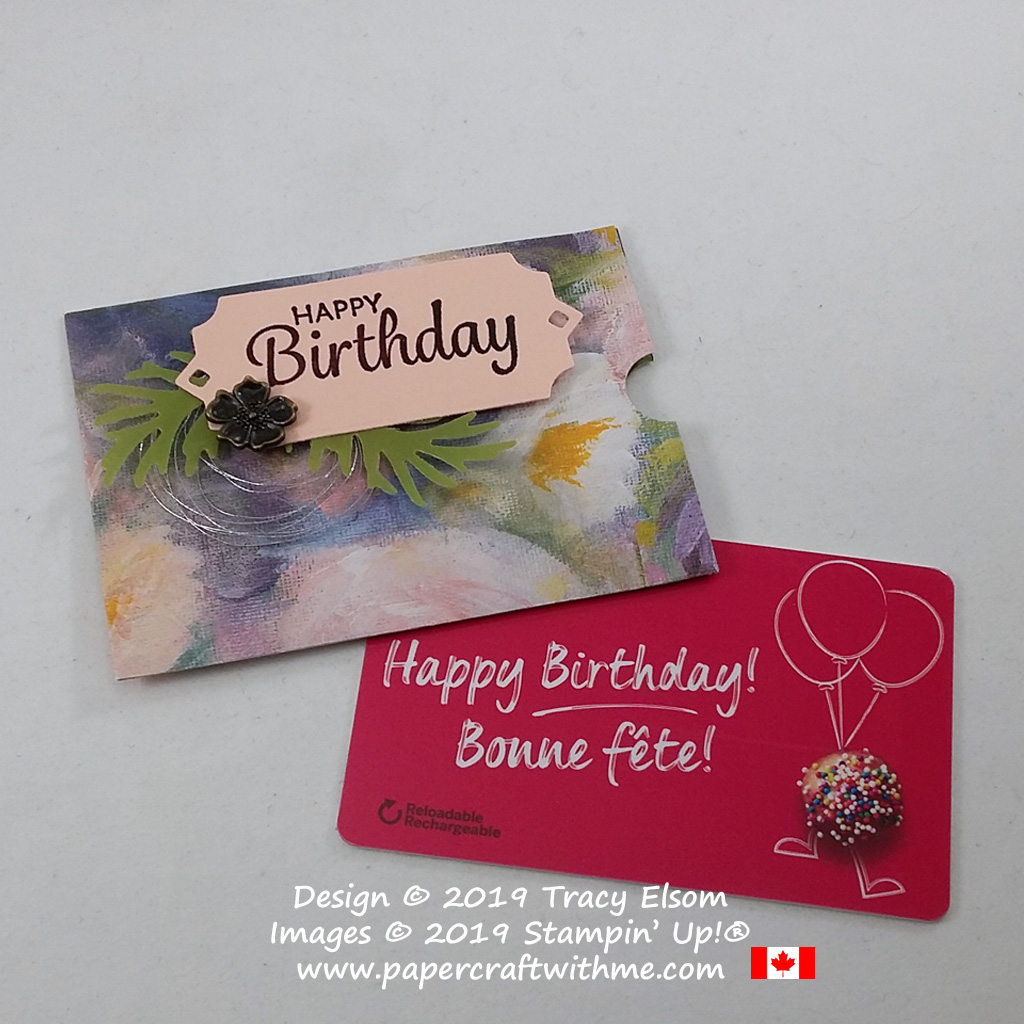 Fancy floral birthday gift card holder created using the Perennial Essence patterned paper and other products from the Stampin' Up! 2019 Annual Catalogue. #papercraftwithme