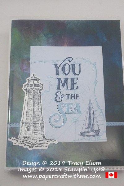 "4"" x 6"" pocket photo album with ""You me and the sea"" sentiment created using products from the Come Sail Away suite from Stampin' Up! #papercraftwithme"