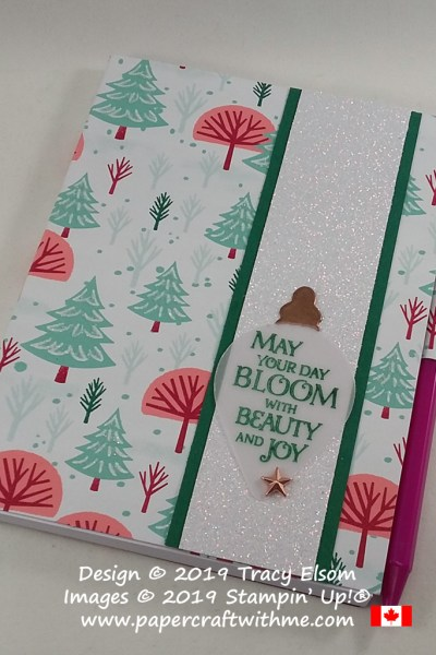 "4"" x 5-1/2"" notepad covered using the Let It Snow patterned paper and with ""May your day..."" sentiment from the Beauty & Joy Stamp Set from Stampin' Up! #papercraftwithme"