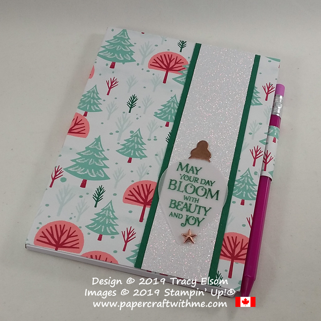 """4"""" x 5-1/2"""" notepad covered using the Let It Snow patterned paper and with """"May your day..."""" sentiment from the Beauty & Joy Stamp Set from Stampin' Up! #papercraftwithme"""