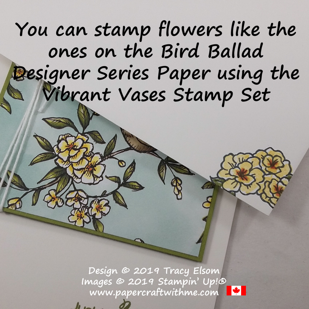 Stamp flowers like the ones on the Bird Ballad patterned paper using the Vibrant Vases Stamp Set from Stampin' Up! #papercraftwithme