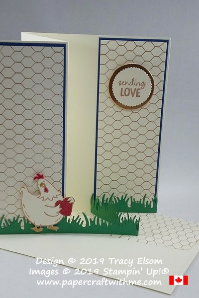 Sending love card featuring a wire effect background and chicken image created using the Birds of A Feather and All Wired up Stamp Sets from Stampin' Up! #papercraftwithme
