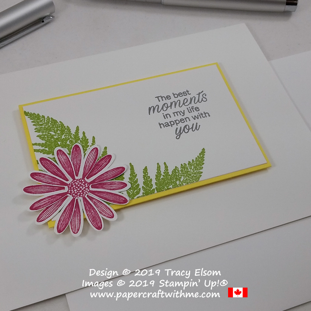 "Bright and cheerful card with ""The best moments in my life happen with you"" sentiment and images from the Daisy Lane Stamp Set from Stampin' Up! #papercraftwithme"