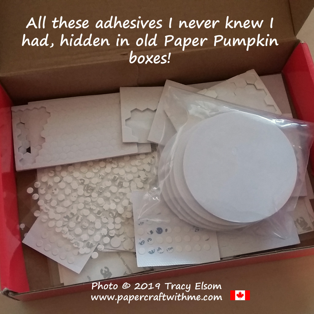 Lots of leftover adhesives from Paper Pumpkin kits now all in one box. #papercraftwithme