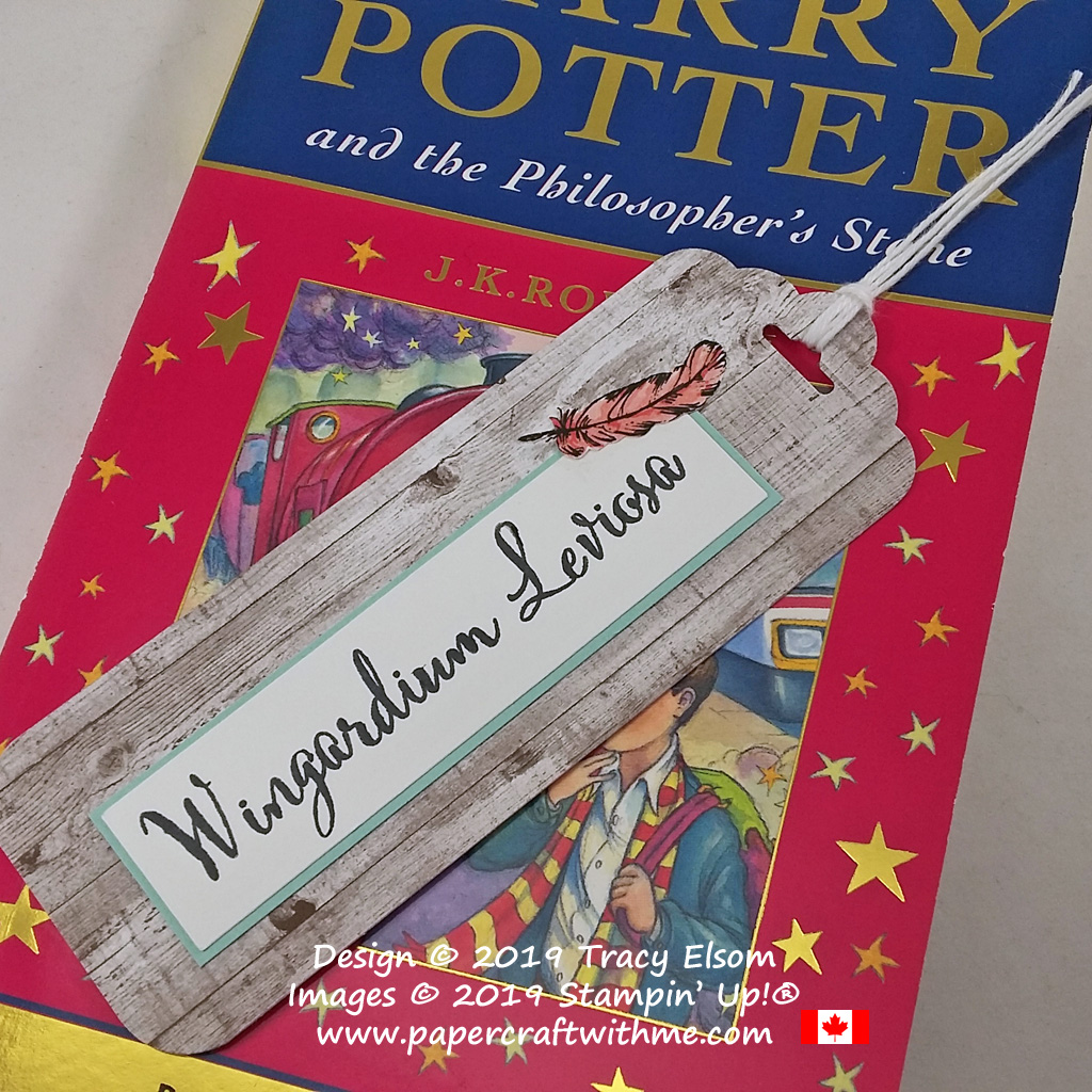 Harry Potter themed bookmark with Wingardium Leviosa spell and feather image created using stamps and paper from Stampin' Up! #papercraftwithme