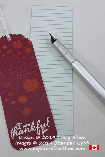 "Bookmark with altered ""I am thankful for"" sentiment from the Painted Harvest Stamp Set from Stampin' Up! #papercraftwithme"