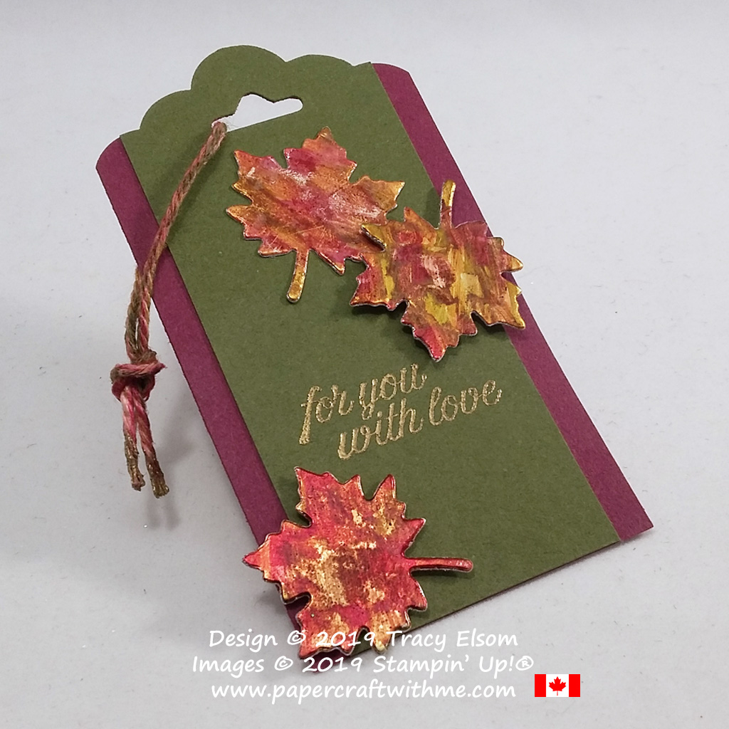 Gift tag with autumn colours inspired by the local scenery, created using the Toile Christmas Stamp Set and Seasonal Layers Dies from Stampin' Up! #papercraftwithme