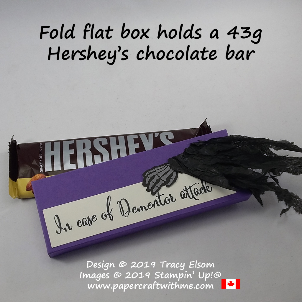 "Chocolate bar box with a Harry Potter theme ""In case of Dementor attack"" created using the Make A Difference Stamp Set and pieces from the September 2019 Paper Pumpkin kit ""Bone Appetit"" #papercraftwithme"