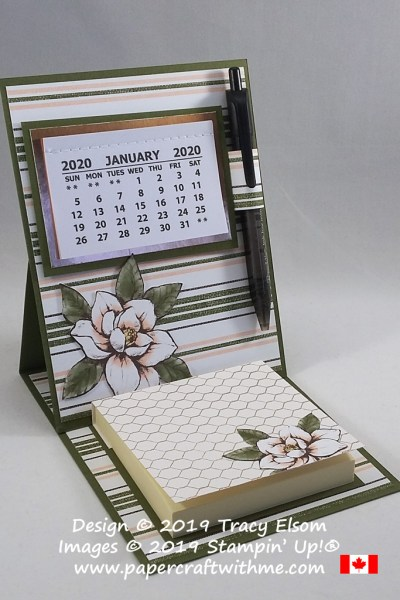 Easel calendar and sticky note holder updated for 2020 using products from the Magnolia Lane suite from Stampin' Up! #papercraftwithme