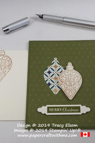 Merry Christmas card created using the Christmas Gleaming Stamp Set and coordinating Gleaming Ornaments Punch Pack and retiring Celestial Copper ink, all from Stampin' Up! #papercraftwithme
