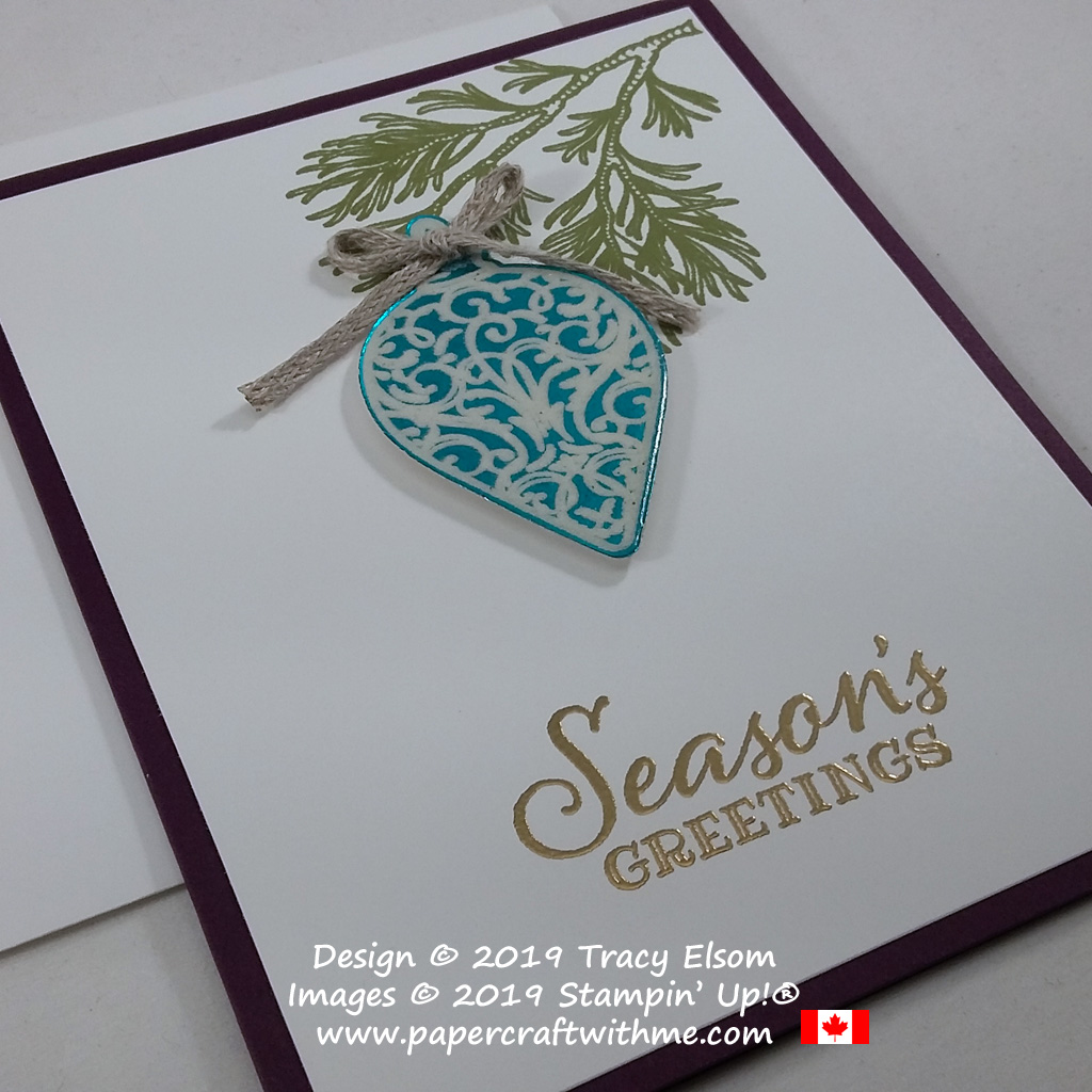 """Seasons greetings"" card with faux enamel ornament created using the Peaceful Boughs and Christmas Gleaming Stamp Sets and Gleaming Ornaments Punch from Stampin' Up! #papercraftwithme"