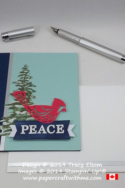 "Cardinal ""Peace"" card created using pieces from the November 2019 Paper Pumpkin kit Winter Gifts. #papercraftwithme"