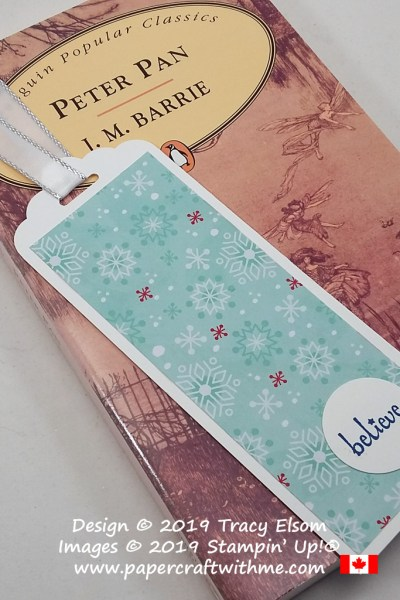 """Simple bookmark created using Let It Snow paper and """"believe"""" sentiment from the Itty Bitty Christmas Stamp Set from Stampin' Up! #papercraftwithme"""