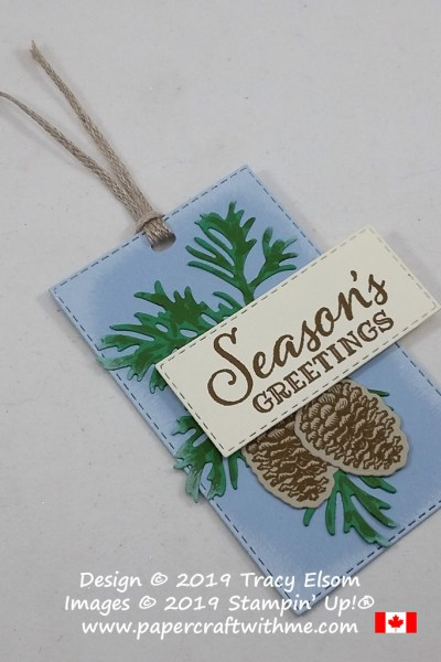 Seasons greetings gift tag with faded edges created using the Peaceful Boughs Stamp Set and coordinating Beautiful Boughs Dies from Stampin' Up! #papercraftwithme