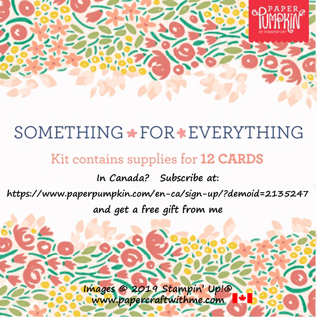 In Canada? Subscribe to Paper Pumpkin by December 10th to get the Something for Everything craft kit containing everything you need to make 12 cards with coordinating envelopes. No long term commitment. #papercraftwithme
